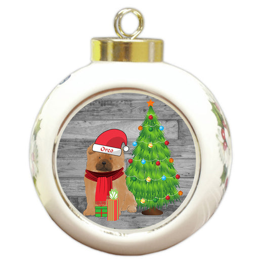 Custom Personalized Chow Chow Dog With Tree and Presents Christmas Round Ball Ornament