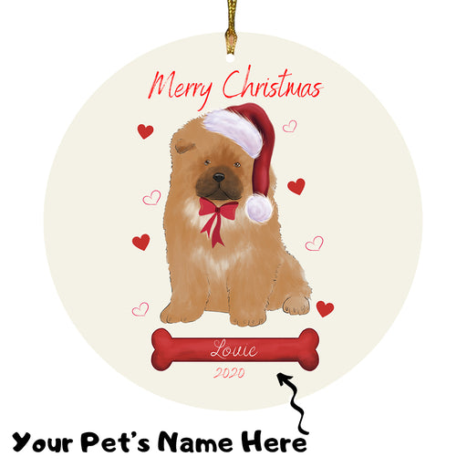 Personalized Merry Christmas  Chow Chow Dog Christmas Tree Round Flat Ornament RBPOR58943