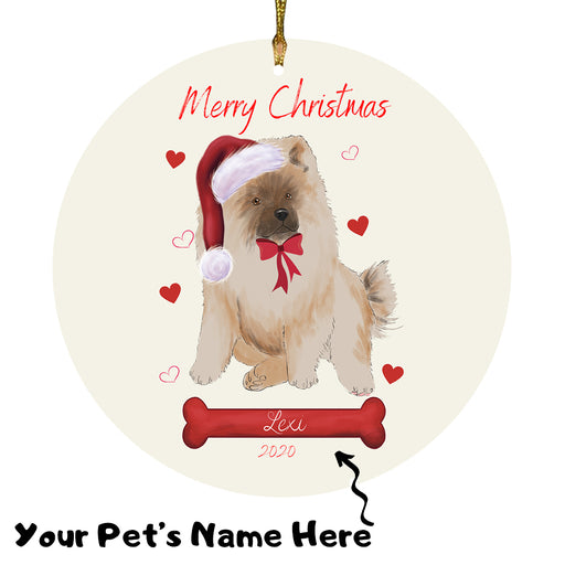 Personalized Merry Christmas  Chow Chow Dog Christmas Tree Round Flat Ornament RBPOR58944