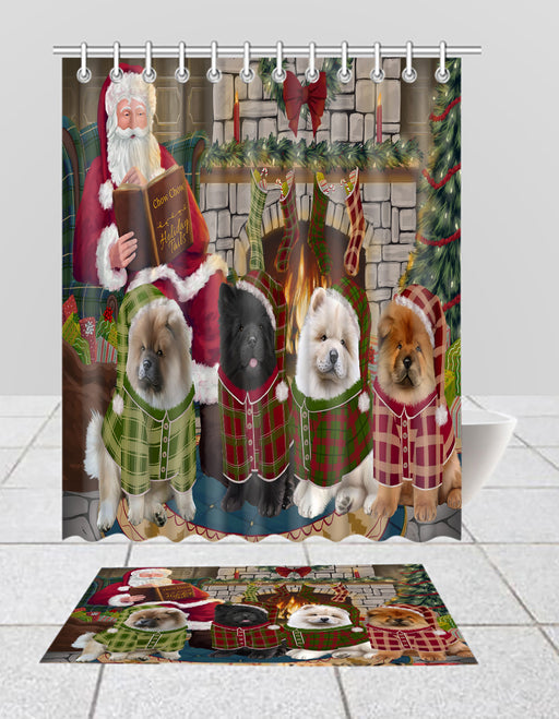 Christmas Cozy Holiday Fire Tails Chow Chow Dogs Bath Mat and Shower Curtain Combo