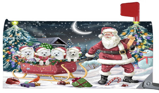 Magnetic Mailbox Cover Santa Sled Christmas Happy Holidays American Eskimos Dog MBC48104