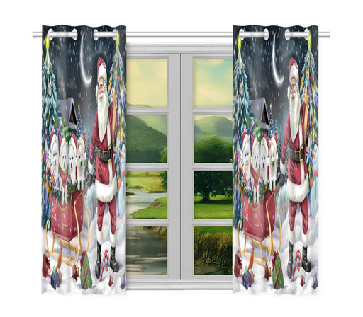 Santa Sled Dogs Christmas Happy Holidays American Eskimo Dogs Window Curtain