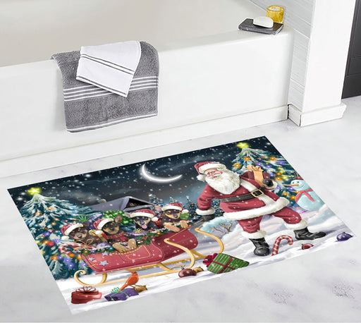 Santa Sled Dogs Christmas Happy Holidays Australian Kelpie Dogs Bath Mat