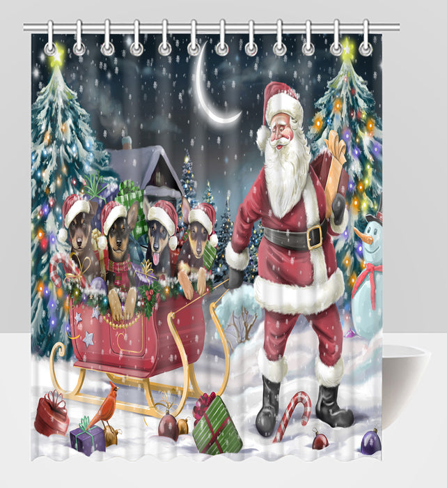 Santa Sled Dogs Christmas Happy Holidays Australian Kelpie Dogs Shower Curtain