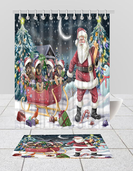 Santa Sled Dogs Christmas Happy Holidays Australian Kelpie Dogs Bath Mat and Shower Curtain Combo