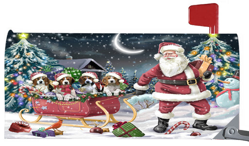 Magnetic Mailbox Cover Santa Sled Christmas Happy Holidays Beagles Dog MBC48109