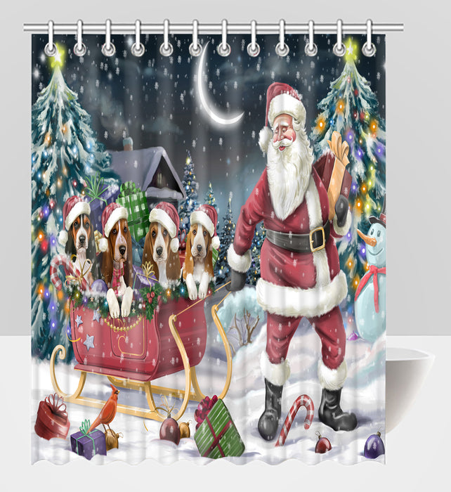 Santa Sled Dogs Christmas Happy Holidays Basset Hound Dogs Shower Curtain