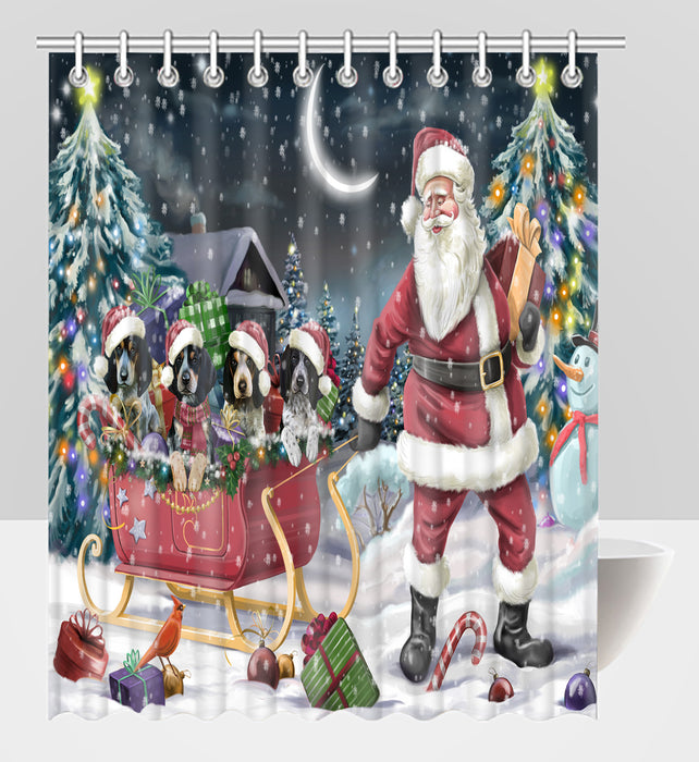 Santa Sled Dogs Christmas Happy Holidays Bluetick Coonhound Dogs Shower Curtain