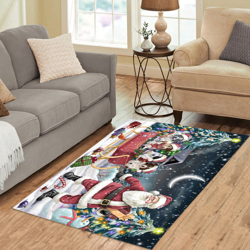 Santa Sled Dogs Christmas Happy Holidays Border Collie Dogs Area Rug