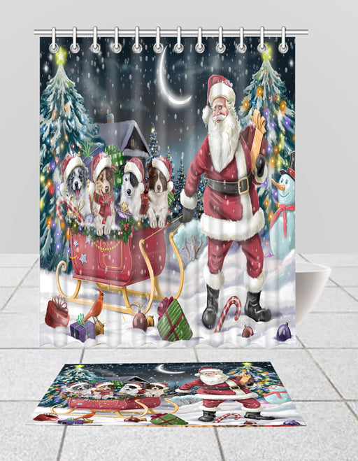 Santa Sled Dogs Christmas Happy Holidays Border Collie Dogs Bath Mat and Shower Curtain Combo