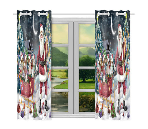 Santa Sled Dogs Christmas Happy Holidays Brittany Spaniel Dogs Window Curtain