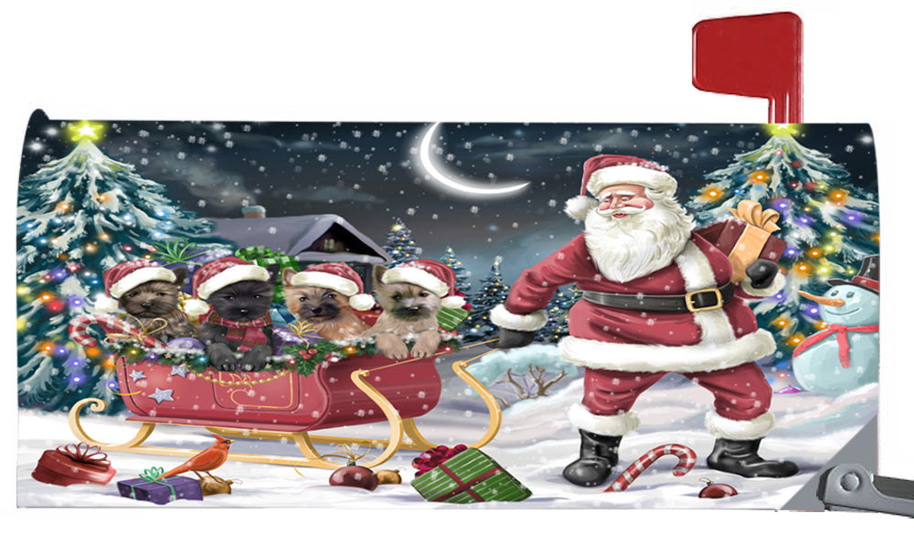 Magnetic Mailbox Cover Santa Sled Christmas Happy Holidays Cairn Terriers Dog MBC48119