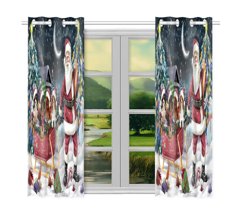 Santa Sled Dogs Christmas Happy Holidays Cavalier King Charles Spaniel Dogs Window Curtain