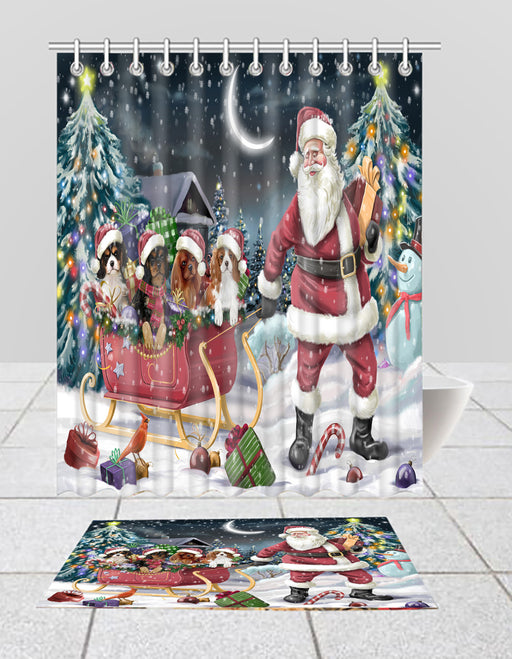Santa Sled Dogs Christmas Happy Holidays Cavalier King Charles Spaniel Dogs Bath Mat and Shower Curtain Combo