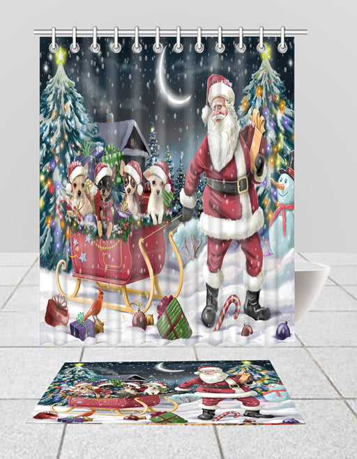 Santa Sled Dogs Christmas Happy Holidays Chihuahua Dogs Bath Mat and Shower Curtain Combo