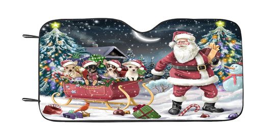 Santa Sled Dogs Christmas Happy Holidays Chihuahua Dogs Car Sun Shade