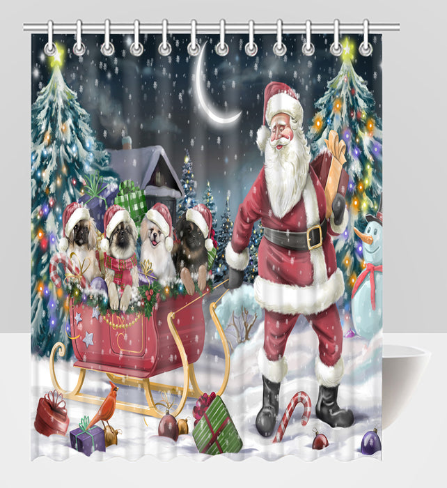 Santa Sled Dogs Christmas Happy Holidays Pekingese Dogs Shower Curtain
