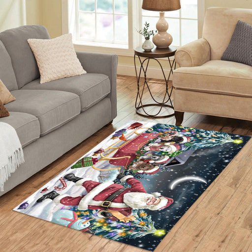 Santa Sled Dogs Christmas Happy Holidays Pitbull Dogs Area Rug