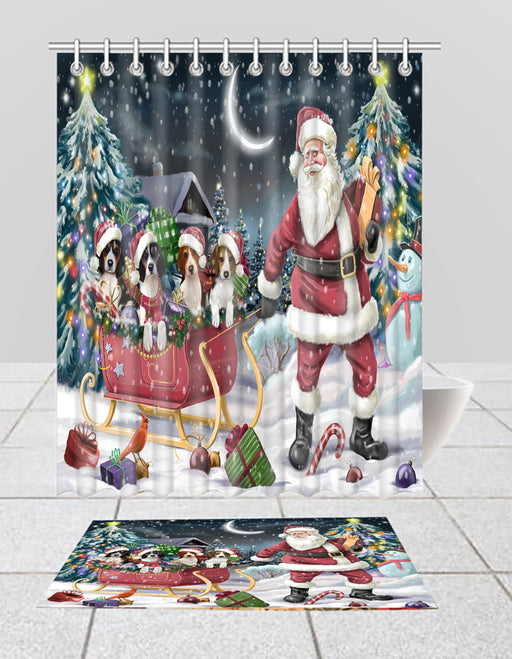Santa Sled Dogs Christmas Happy Holidays Treeing Walker Coonhound Dogs Bath Mat and Shower Curtain Combo