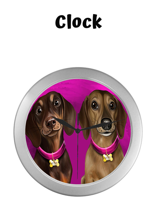 Add Your PERSONALIZED PET Painting Portrait on Silver Wall Clocks