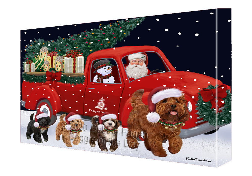 Christmas Express Delivery Red Truck Running Cockapoo Dogs Canvas Print Wall Art Décor CVS146015