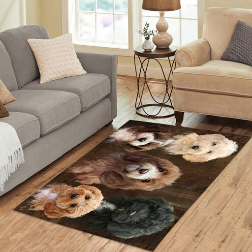 Rustic Cockapoo Dogs Area Rug