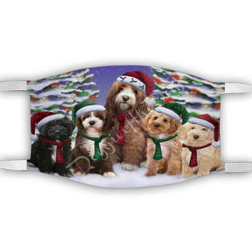 Cockapoo Dogs Christmas Family Portrait in Holiday Scenic Background Face Mask FM48336