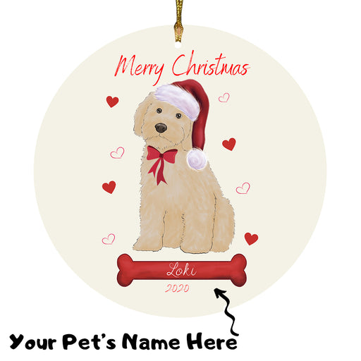 Personalized Merry Christmas  Cockapoo Dog Christmas Tree Round Flat Ornament RBPOR58945