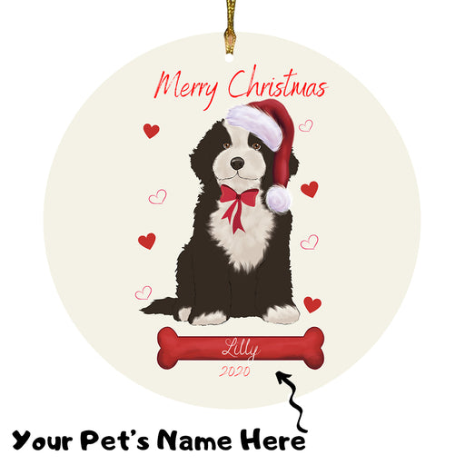 Personalized Merry Christmas  Cockapoo Dog Christmas Tree Round Flat Ornament RBPOR58946