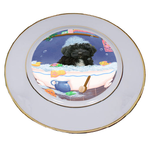 Rub A Dub Dog In A Tub Cockapoo Dog Porcelain Plate PLT57398