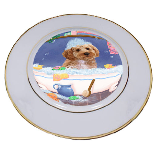 Rub A Dub Dog In A Tub Cockapoo Dog Porcelain Plate PLT57399