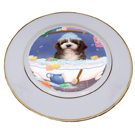 Rub A Dub Dog In A Tub Cockapoo Dog Porcelain Plate PLT57400