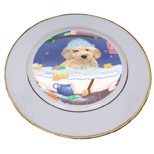 Rub A Dub Dog In A Tub Cockapoo Dog Porcelain Plate PLT57401