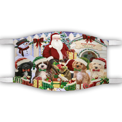 Happy Holidays Christmas Cockapoo Dogs House Gathering Face Mask FM48239