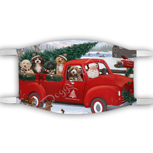 Christmas Santa Express Delivery Red Truck Cockapoo Dogs Face Mask FM48431