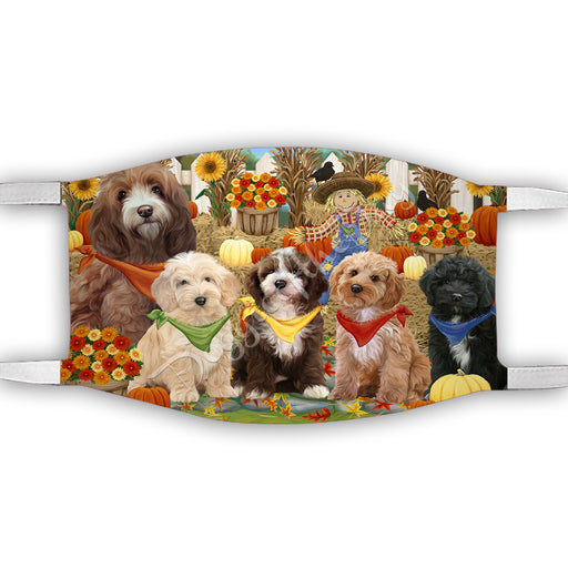 Fall Festive Harvest Time Gathering  Cockapoo Dogs Face Mask FM48528