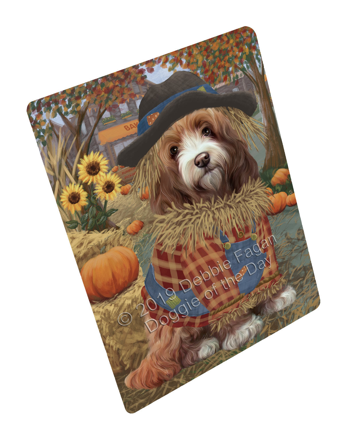 Halloween 'Round Town And Fall Pumpkin Scarecrow Both Cockapoo Dogs Large Refrigerator / Dishwasher Magnet RMAG104736
