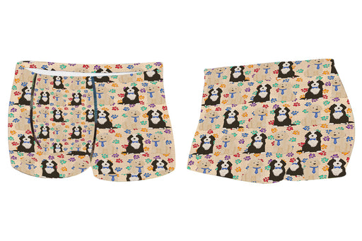 Rainbow Paw Print Cockapoo Dogs BlueMen's All Over Print Boxer Briefs