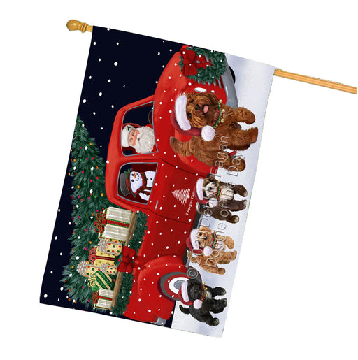 Christmas Express Delivery Red Truck Running Cockapoo Dogs House Flag FLG66513