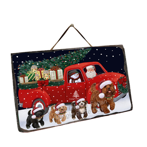 Christmas Express Delivery Red Truck Running Cockapoo Dogs Wall Décor Hanging Photo Slate SLTH58152