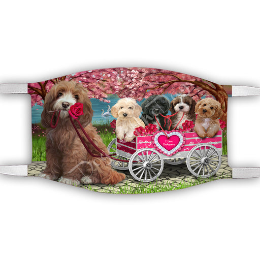 I Love Cockapoo Dogs in a Cart Face Mask FM48137