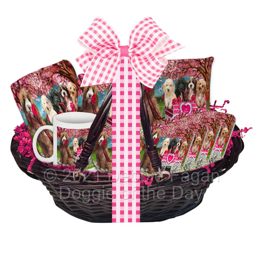 Mother's Day Gift Basket Cockapoo Dogs Blanket, Pillow, Coasters, Magnet, Coffee Mug and Ornament
