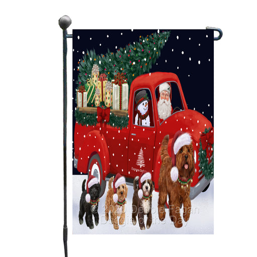 Christmas Express Delivery Red Truck Running Cockapoo Dogs Garden Flag GFLG66457