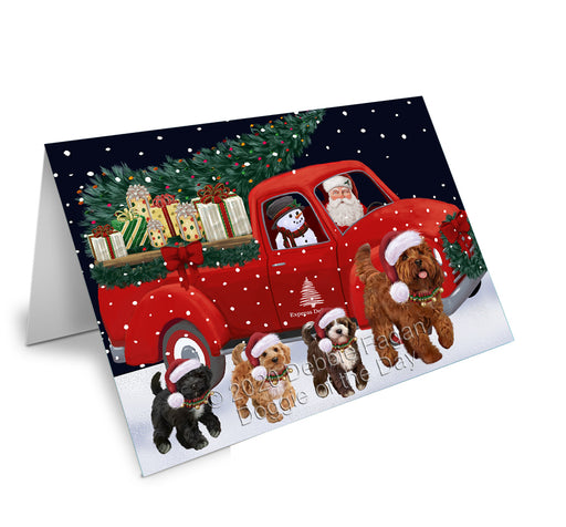 Christmas Express Delivery Red Truck Running Cockapoo Dogs Greeting Card GCD75113