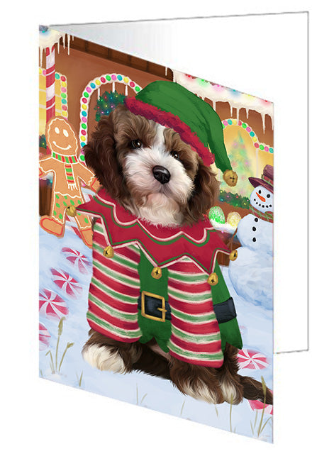 Christmas Gingerbread House Candyfest Cockapoo Dog Note Card NCD73445