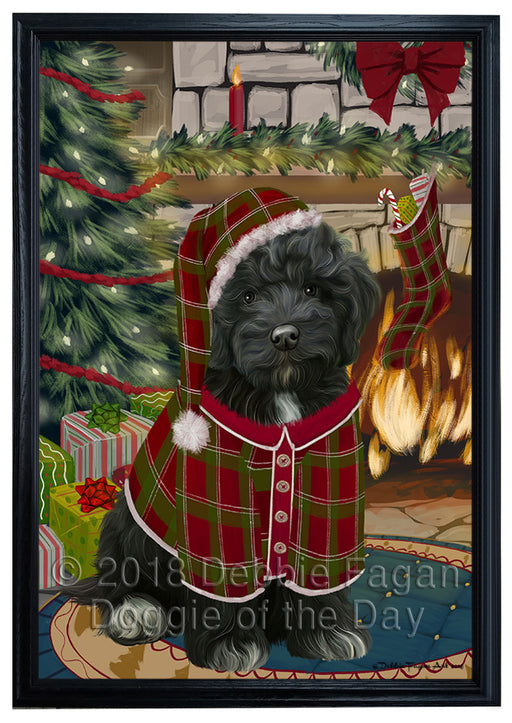 The Stocking was Hung Cockapoo Dog Framed Canvas Print Wall Art FCVS176809