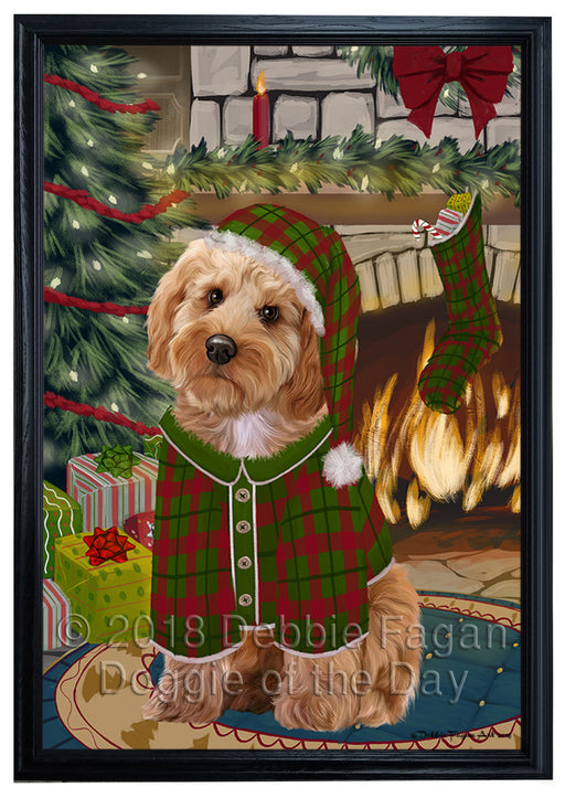 The Stocking was Hung Cockapoo Dog Framed Canvas Print Wall Art FCVS176826