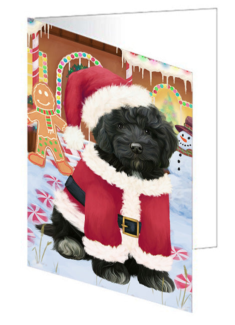 Christmas Gingerbread House Candyfest Cockapoo Dog Note Card NCD73451