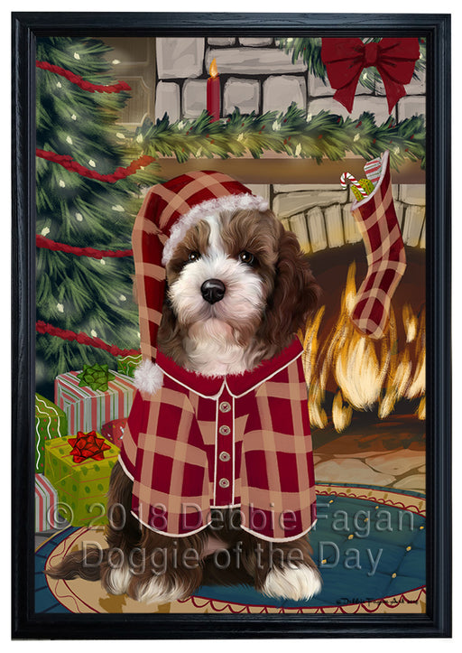 The Stocking was Hung Cockapoo Dog Framed Canvas Print Wall Art FCVS176843