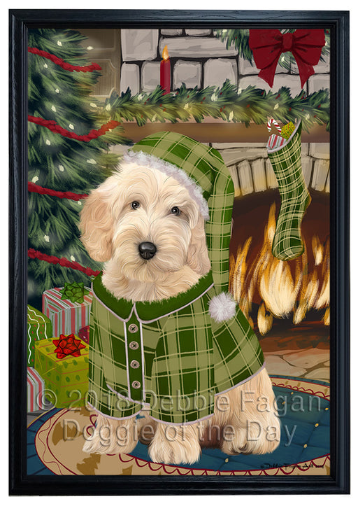 The Stocking was Hung Cockapoo Dog Framed Canvas Print Wall Art FCVS176860